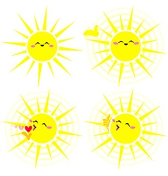 Shining happy yellow sun pack vector