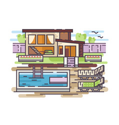 country house with swimming pool vector image vector image