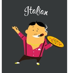 Italian man cartoon character citizen of the vector image vector image