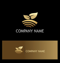 nature leaf landscape gold logo vector image