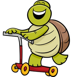 turtle on scooter cartoon vector image