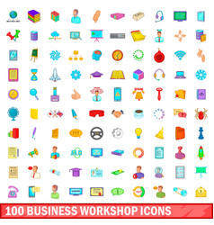 100 business workshop icons set cartoon style vector image
