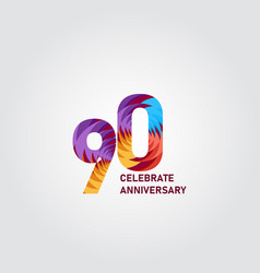 90 year anniversary elegant rainbow template vector