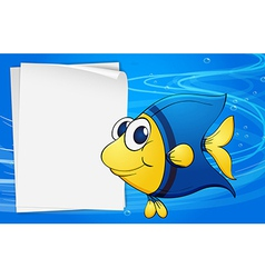 A fish beside an empty bondpaper under the sea vector image