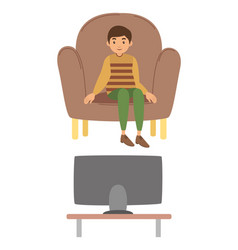 A young boy watching television vector