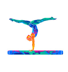 Abstract female athlete doing a complicated vector