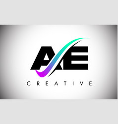 Ae letter logo with creative swoosh curved line vector