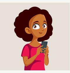 African teen girl holding smartphone vector