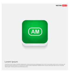 am radio frequency icon green web button vector image