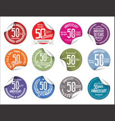 anniversary modern tag and stickers collection 50 vector image