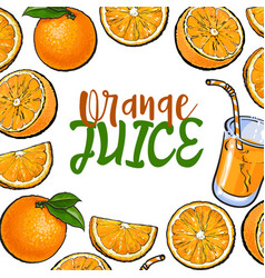 Banner framed with oranges and fresh juice place vector