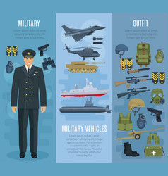 Banners military vehicles ammunition outfit vector