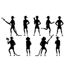 black silhouette set adult male firefighter vector image
