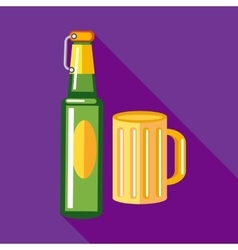 Bottle of beer and a mug full of beer icon vector image