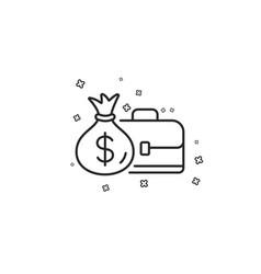 Business case line icon portfolio and salary vector