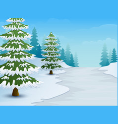 Cartoon of winter landscape with snowy ground and vector