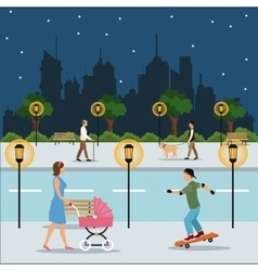 character walking landscape night city street park vector image