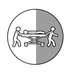 Circular frame shading with pictogram paramedics vector