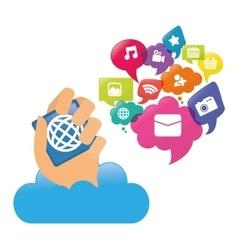 Cloud hand mobile apps design vector