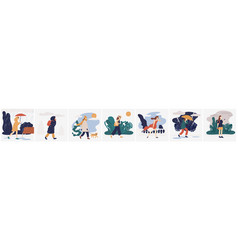collection of girl in various weather conditions vector image