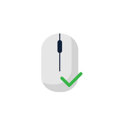 computer mouse icon with thick green check mark vector image