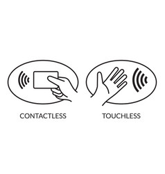 Contactless payment and touchless logos vector