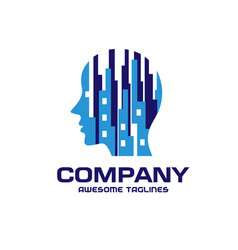 Creative urban people brain logo vector