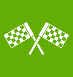 Crossed chequered flags icon green vector