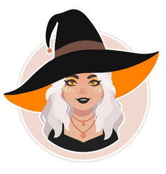 cute bright girl in witch hat vector image