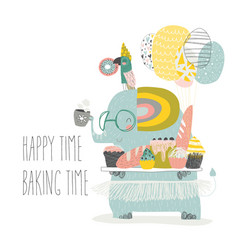 cute elephant holding tray with homemade bakery vector image