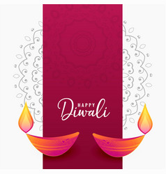 Decorative diwali diya artistic background vector