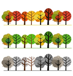 Different seasons of forest concept vector