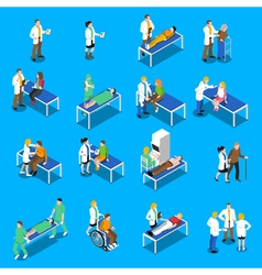 Doctor Patient Communication Isometric Icons Set vector