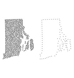 dot contour map of rhode island state vector image