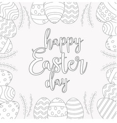 easter frame with easter eggs hand drawn black on vector image