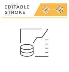 financial graph editable stroke line icon vector image