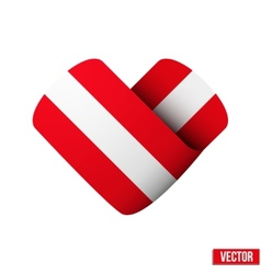 Flag icon in the form of heart I love Austria vector