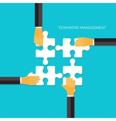 Flat background with hands and puzzles Teamwork vector