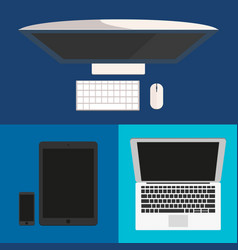 flat design computer monitor smartphone laptop vector image