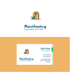 Flat grave logo and visiting card template vector
