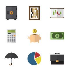 Flat icon gain set graph diagram parasol and vector