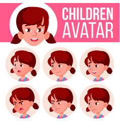 Girl avatar set kid kindergarten face vector