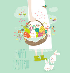 girl holding basket with easter eggs vector image