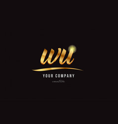 gold alphabet letter wu w u logo combination icon vector image