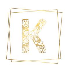 Golden ornamental alphabet letter k font on white vector