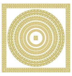 Golden ornamental meander circle frame in gold vector