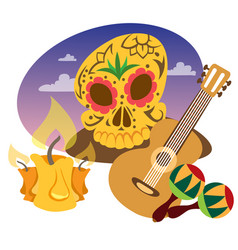 Guitar maracas cow skull on a wheel color of a vector