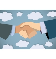 Handshake businessman hand color flat and sky vector
