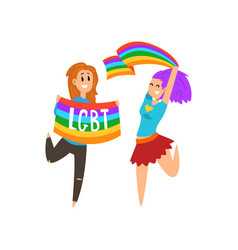 Happy lesbian woman jumping joyfully waving vector