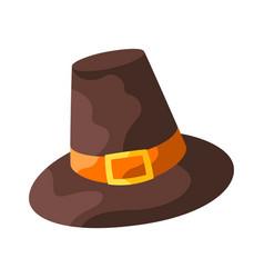 happy thanksgiving pilgrim hat vector image
